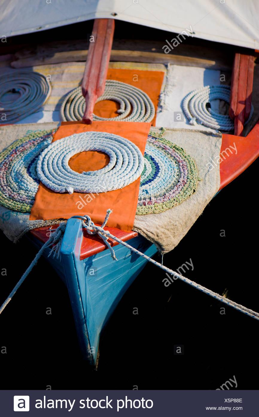 Bateau de pêche traditionnel grec à Egine, Grèce. Photo Stock