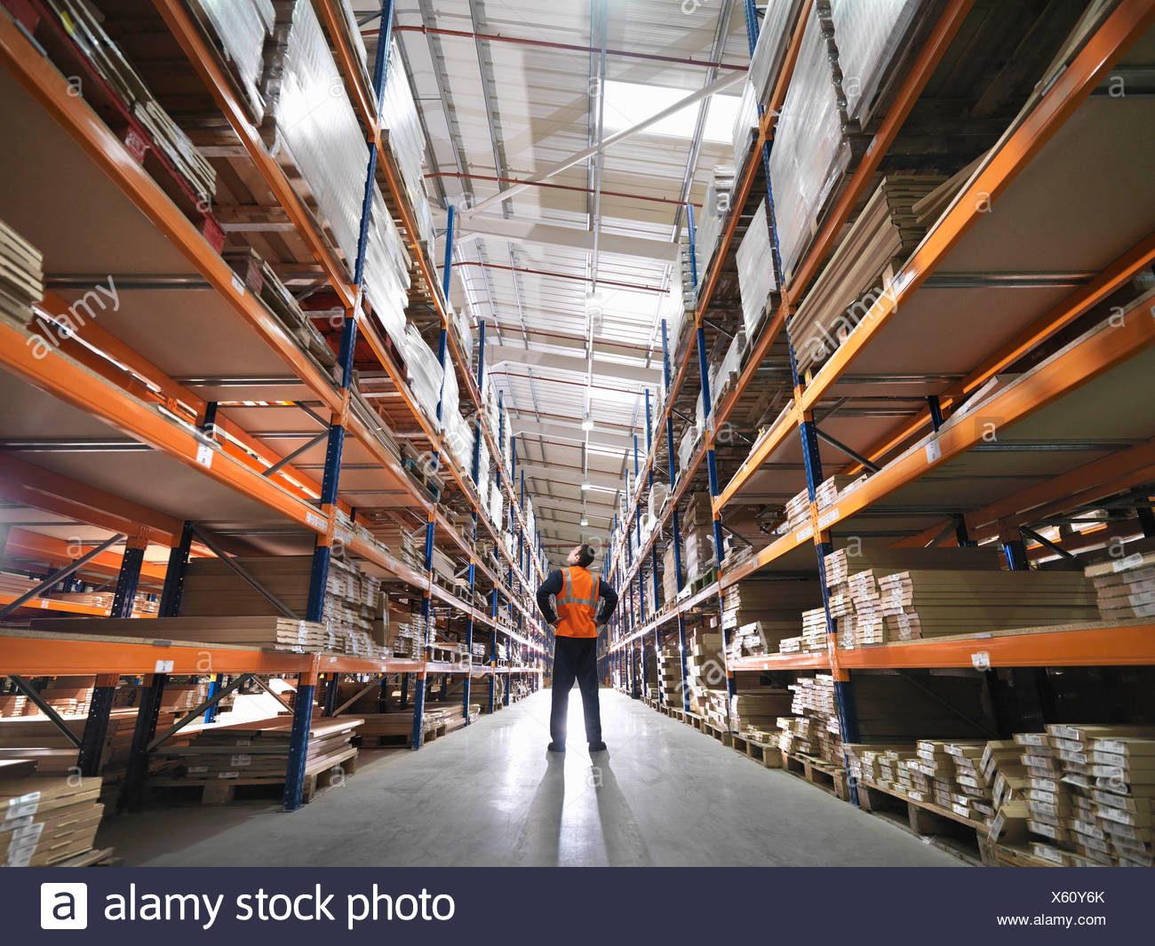 L'inspection des marchandises en entrepôt travailleur Photo Stock
