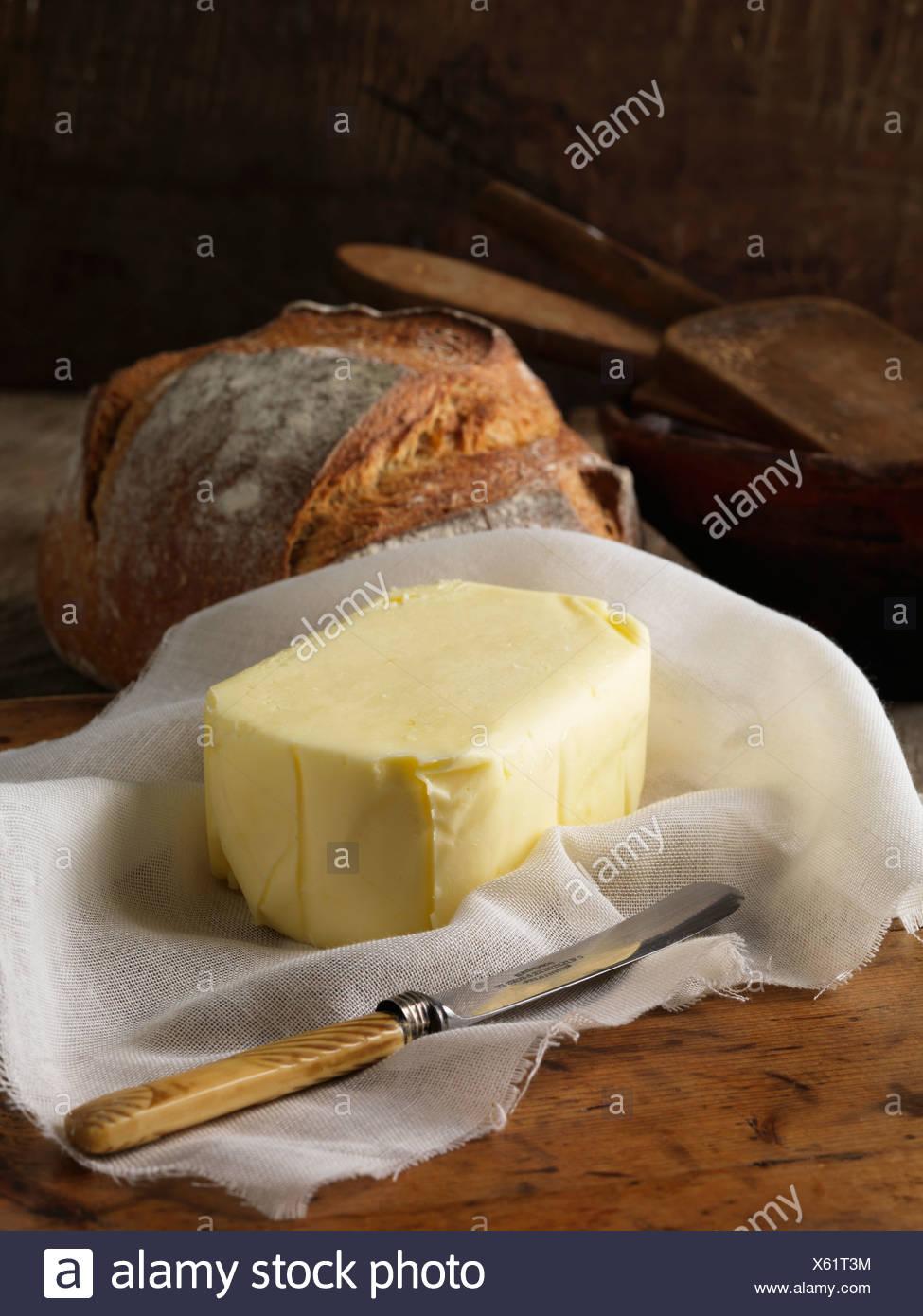 Beurre biologique avec du pain Photo Stock