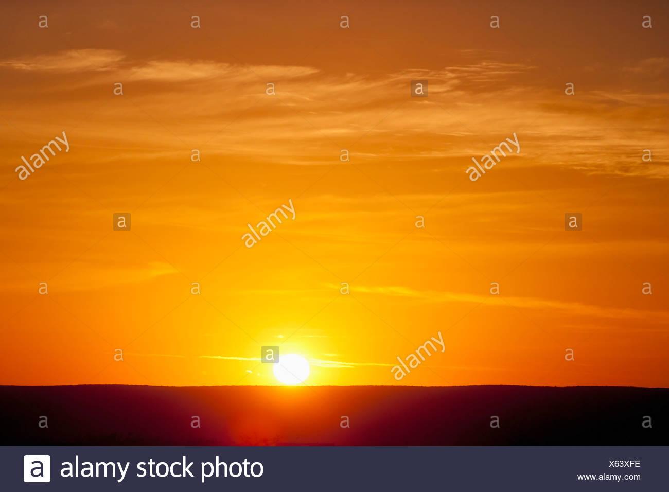 Lever de soleil sur l'Horizon Niveau; Floride, États-Unis d'Amérique Photo Stock