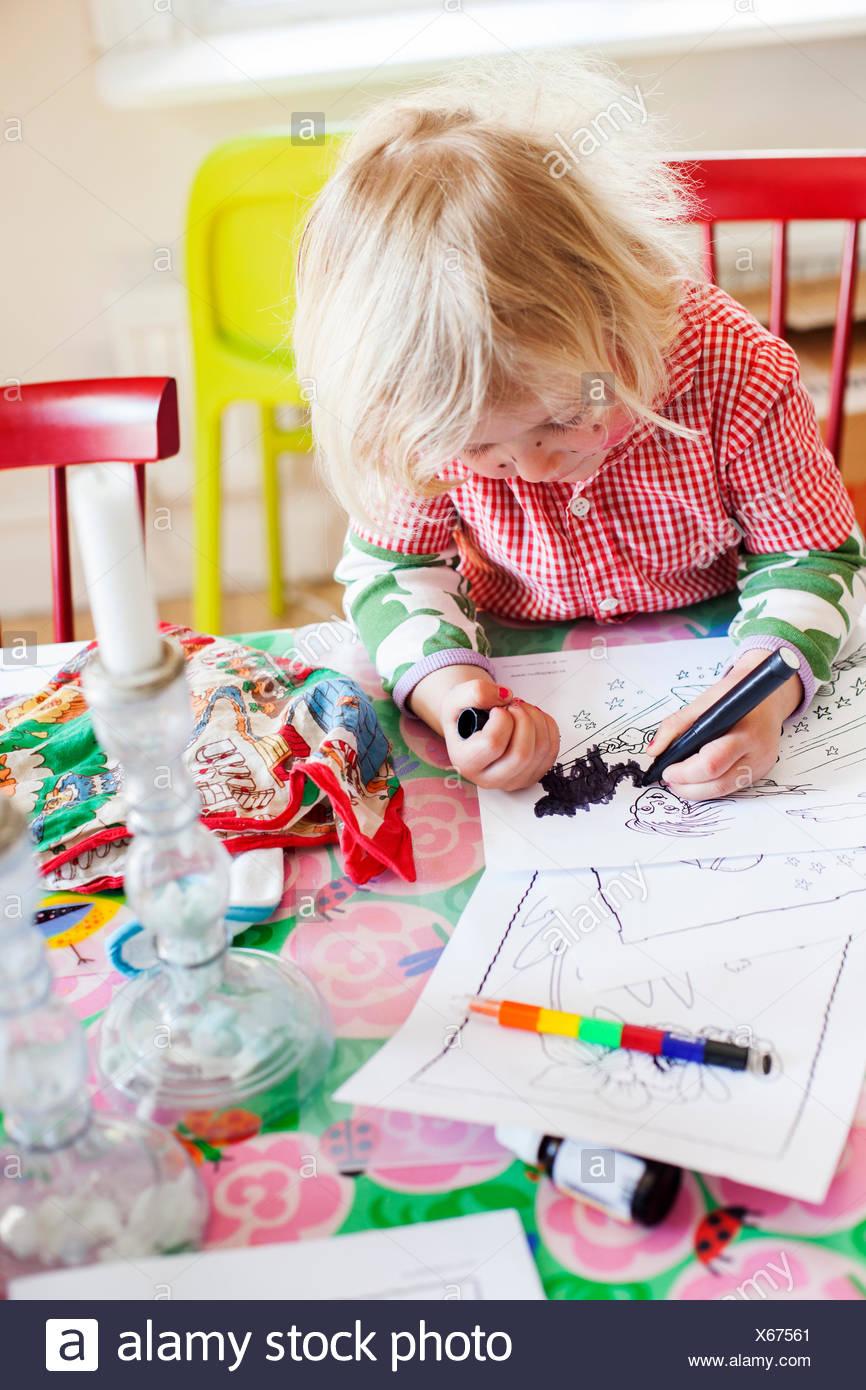 La Suède, Girl (2-3) images à colorier Photo Stock