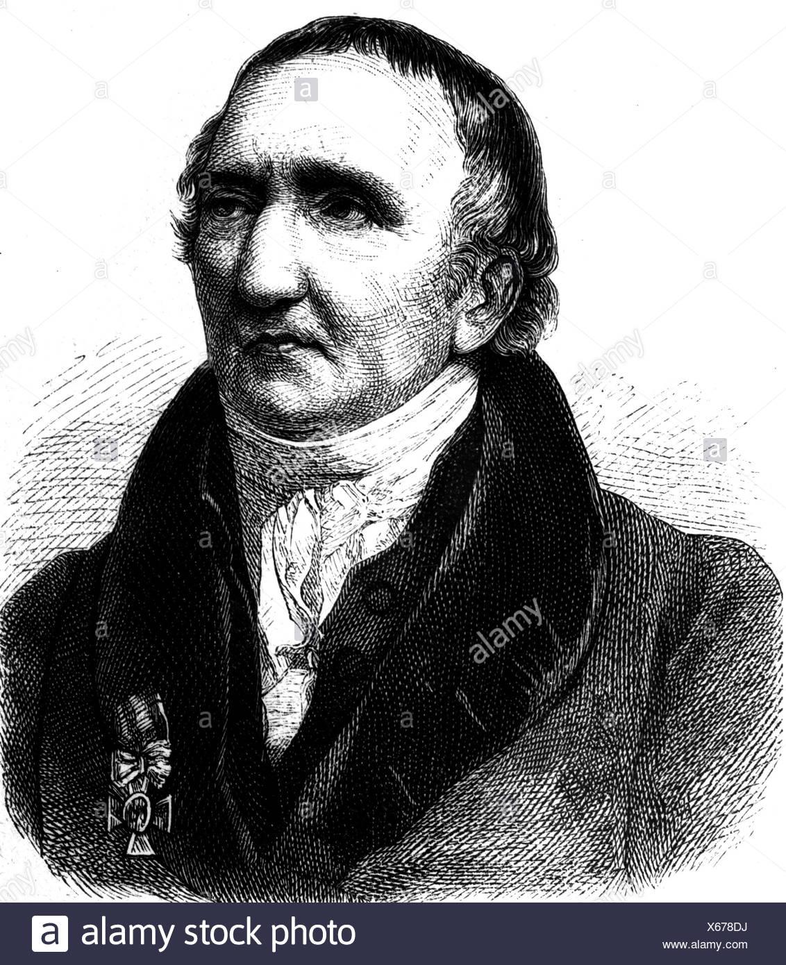 Schadow, Johann Gottfried, 20.5.1764 - 27.1.1850, sculpteur allemand, portrait, gravure, XIXe siècle, Banque D'Images