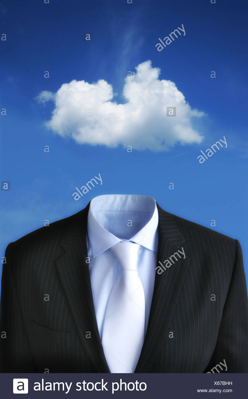 Un nuage flottant au-dessus d'un costume d'affaires Photo Stock
