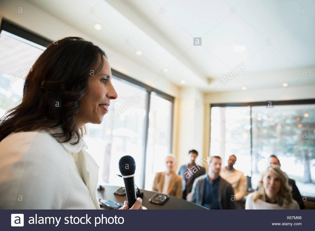 Microphone de conférence de premier plan Photo Stock