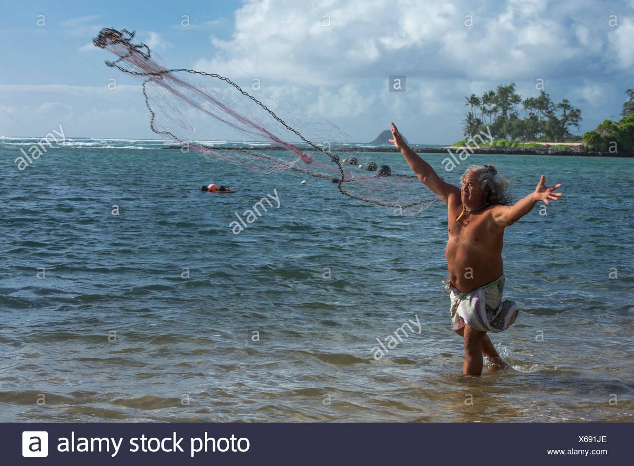 Molokai,local,Polynesian,pas de modèle-version,homme,pêche,USA,New York,Nord,pêcheur, Photo Stock
