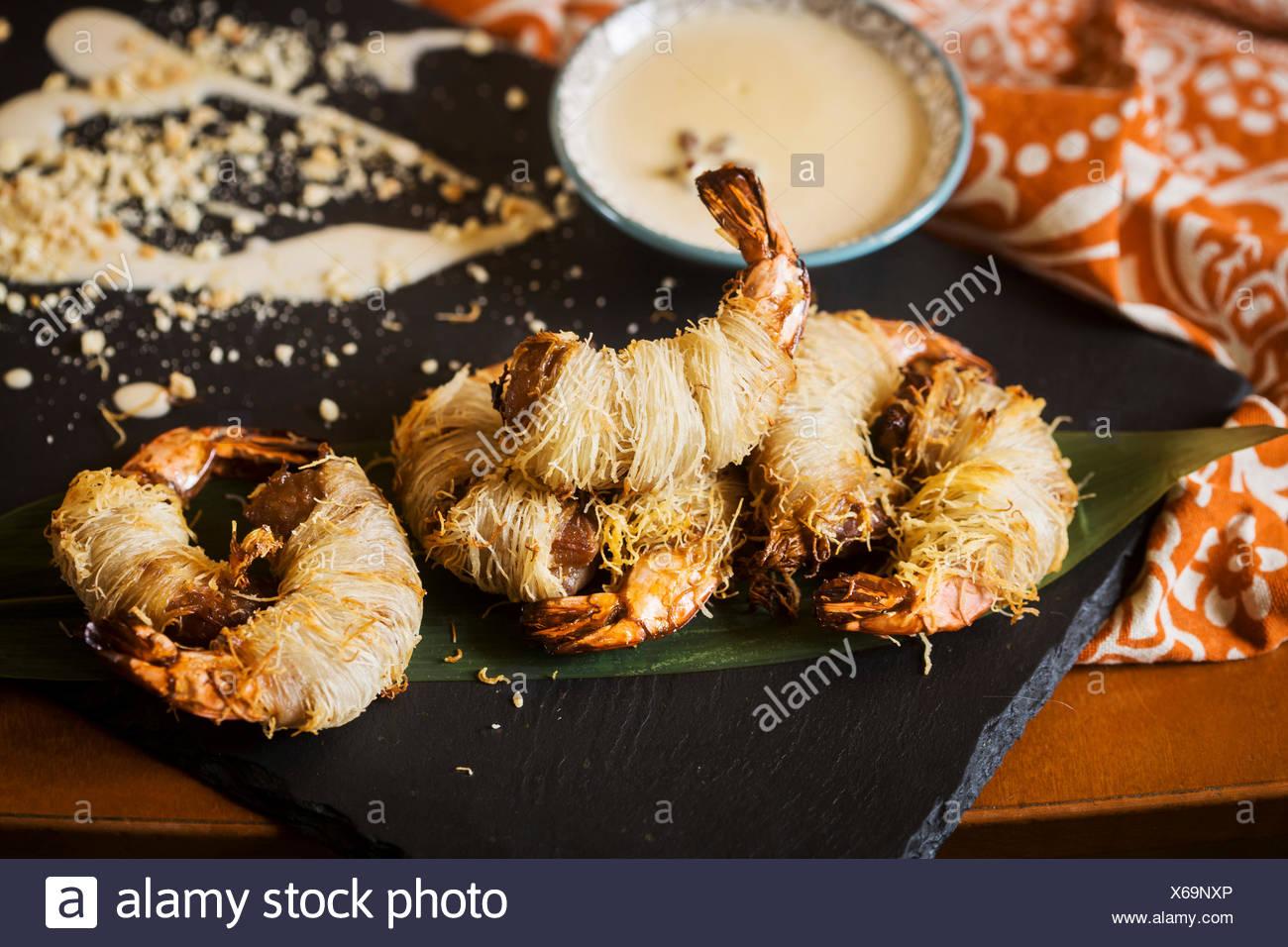 Plat asiatique - Crevettes en pâte poilue Photo Stock