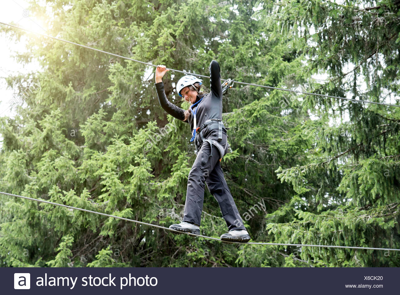 Teenage girl on high encordé Photo Stock