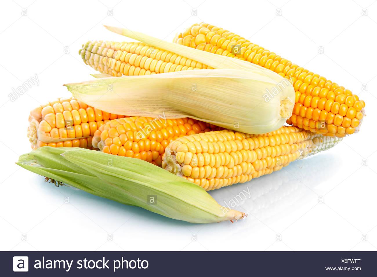 Le maïs frais avec légumes feuilles isolées vert Photo Stock