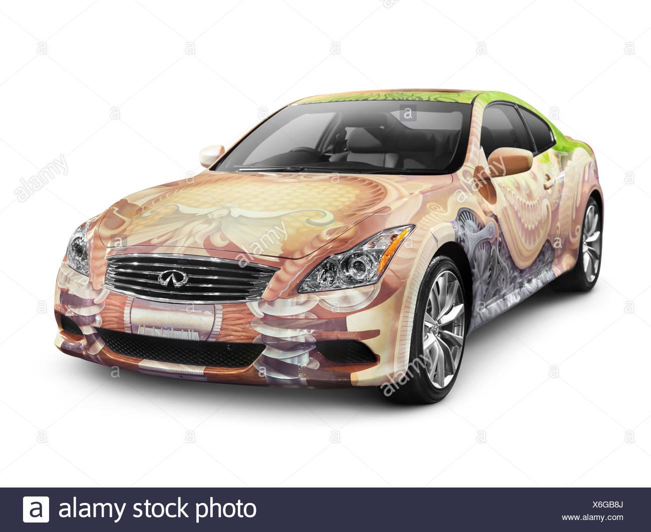 2010 Infiniti G37 Coupé voiture avec corps peint à la main, Anniversaire Art Project Photo Stock