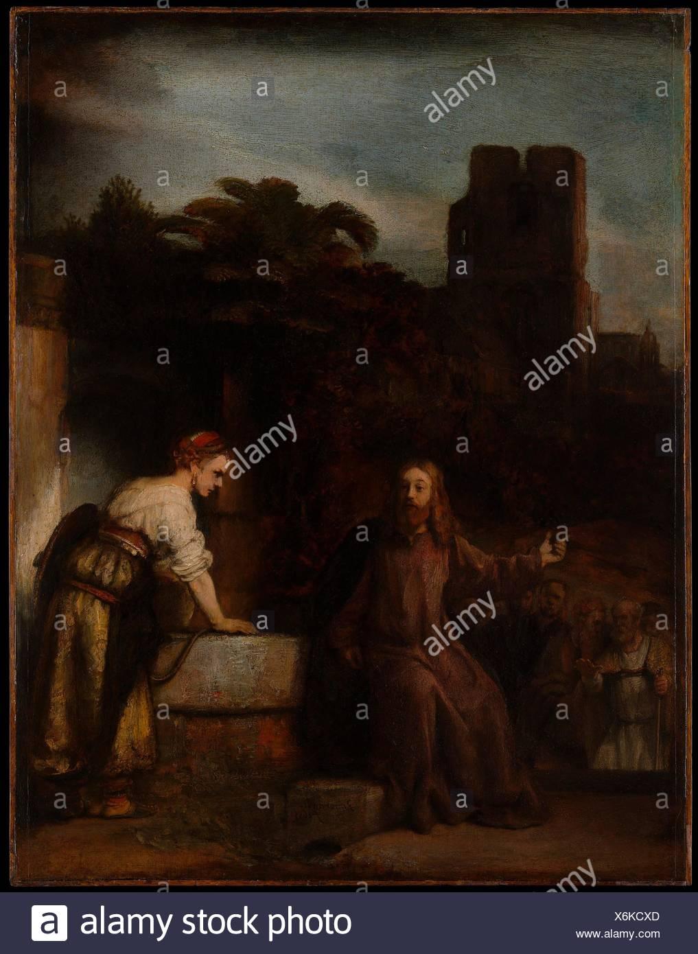 Le Christ et la femme de Samarie. Artiste: style de Rembrandt (Néerlandais, ca. 1655); Technique: Huile sur bois; Dimensions: 25 x 19 1/4 in. (63,5 x 48,9 cm); Banque D'Images
