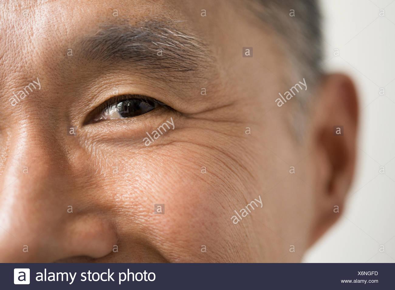 Close up de yeux de smiling man Photo Stock