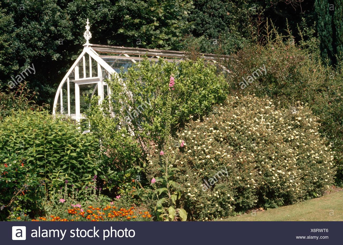Serre victorienne élégante dans un pays jardin Banque D'Images