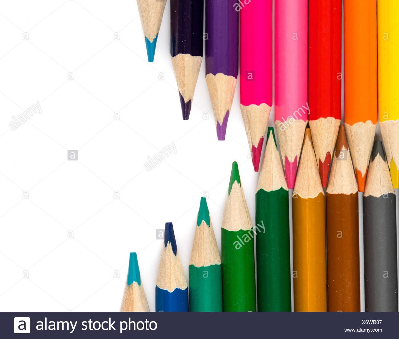Crayons de conseils dans la composition en zigzag Photo Stock