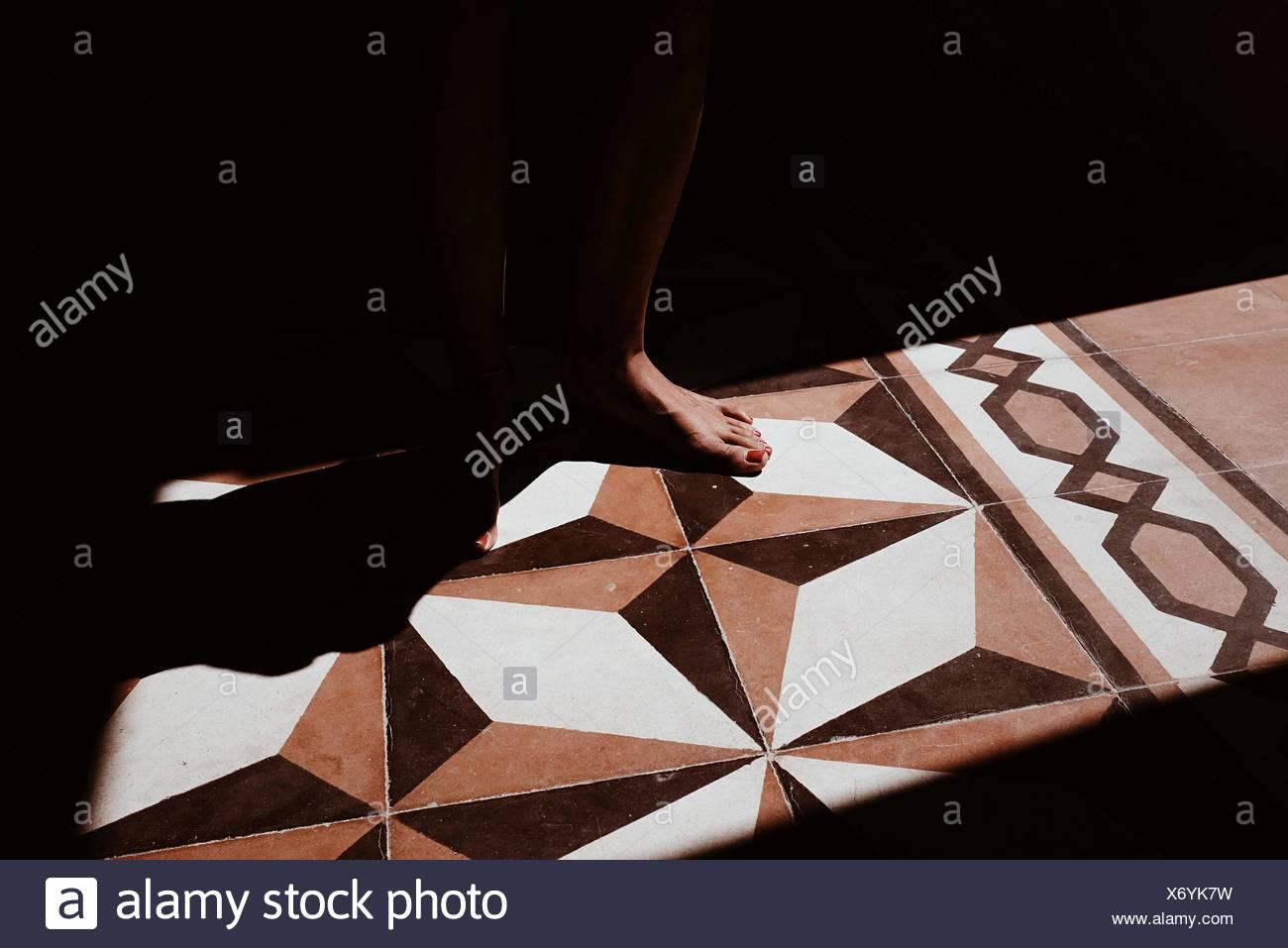 La section basse de femme debout sur le plancher à motifs dans la lumière du soleil Photo Stock