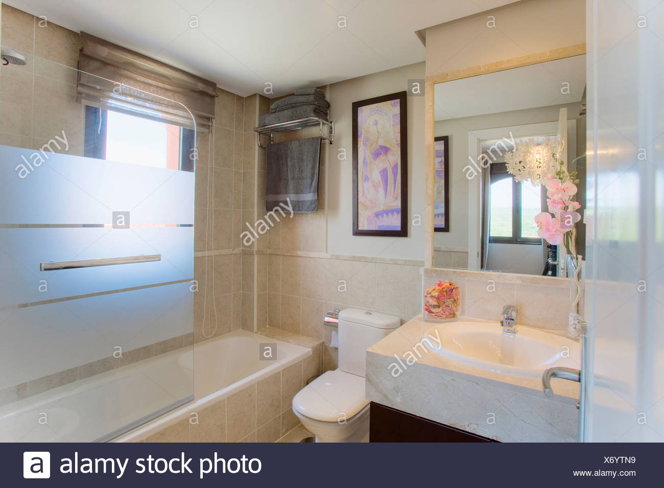 Petite Salle De Bains Moderne Avec Lavabo Et Miroir Au Dessus De Lu0027écran De  Douche En Verre Opaque Sur Baignoire Douche