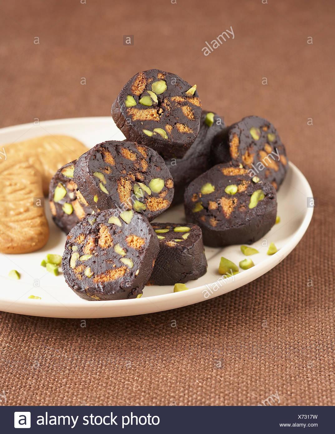 ,Chocolat pistache et Spéculos saucisse douce Photo Stock