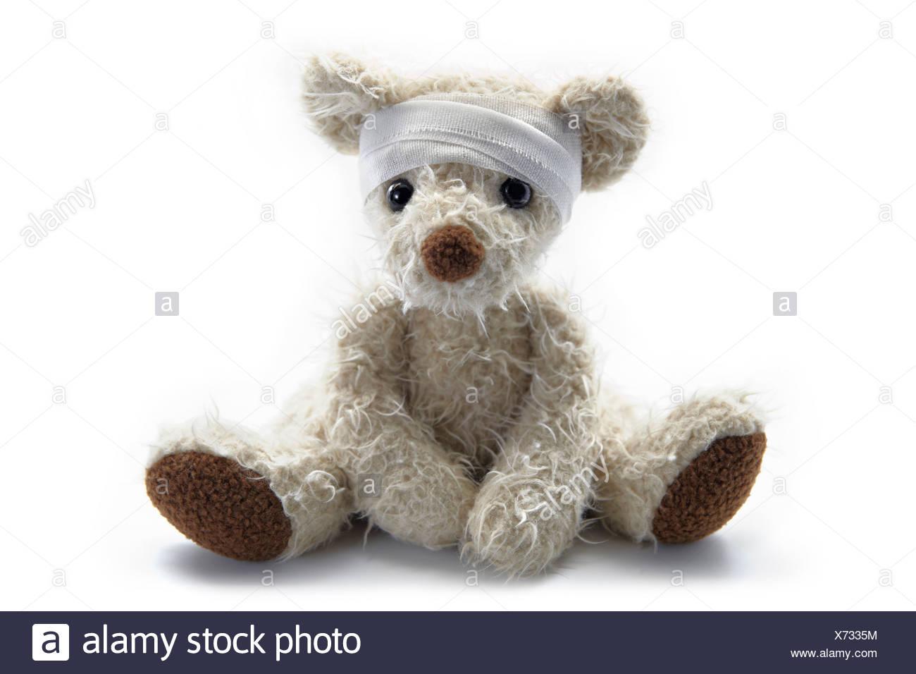 Close-up of a sick ours avec bandage autour tête posée contre fond blanc Photo Stock