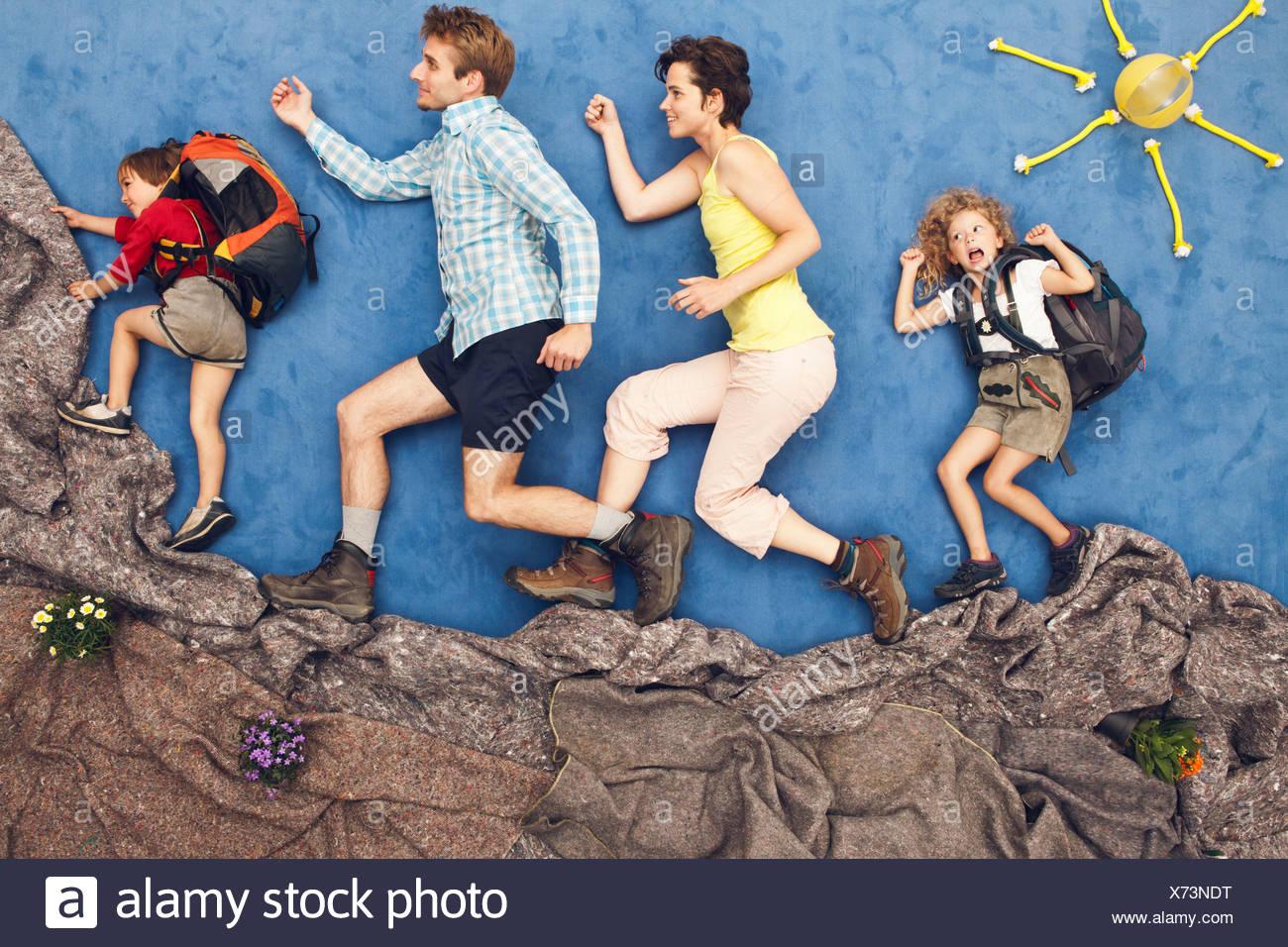 L'Allemagne, de l'alpinisme famille scène artificielle Banque D'Images