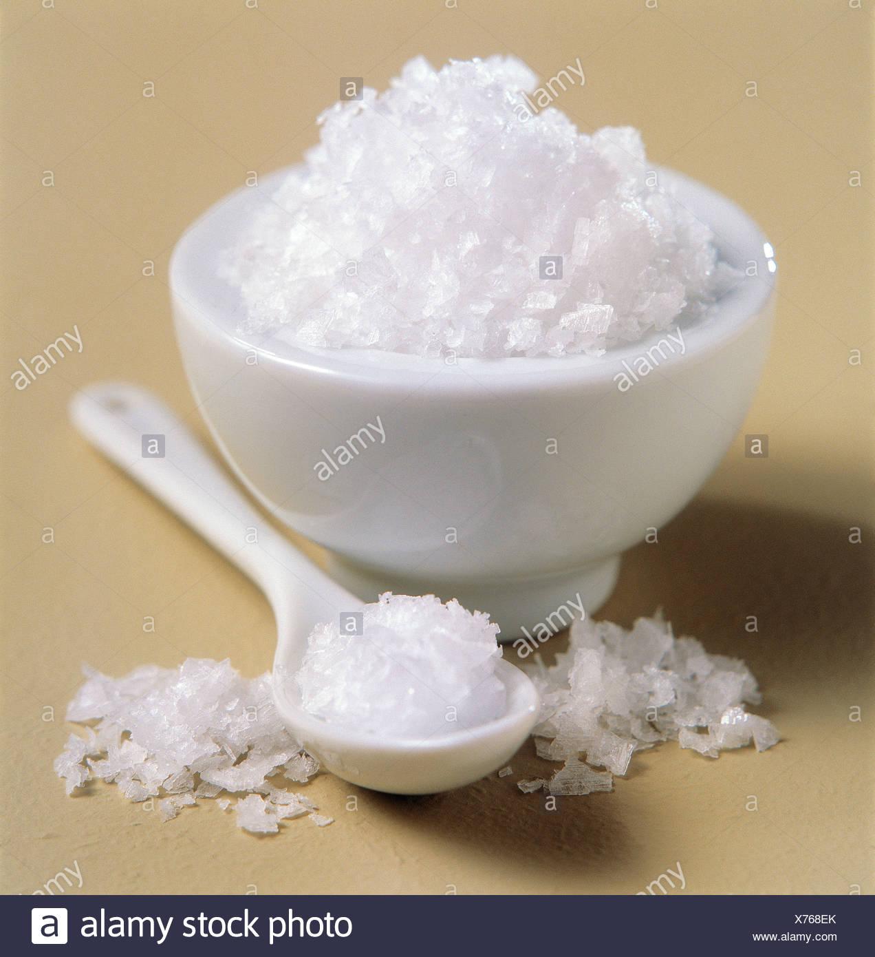 Fleur de sel sel de mer Photo Stock