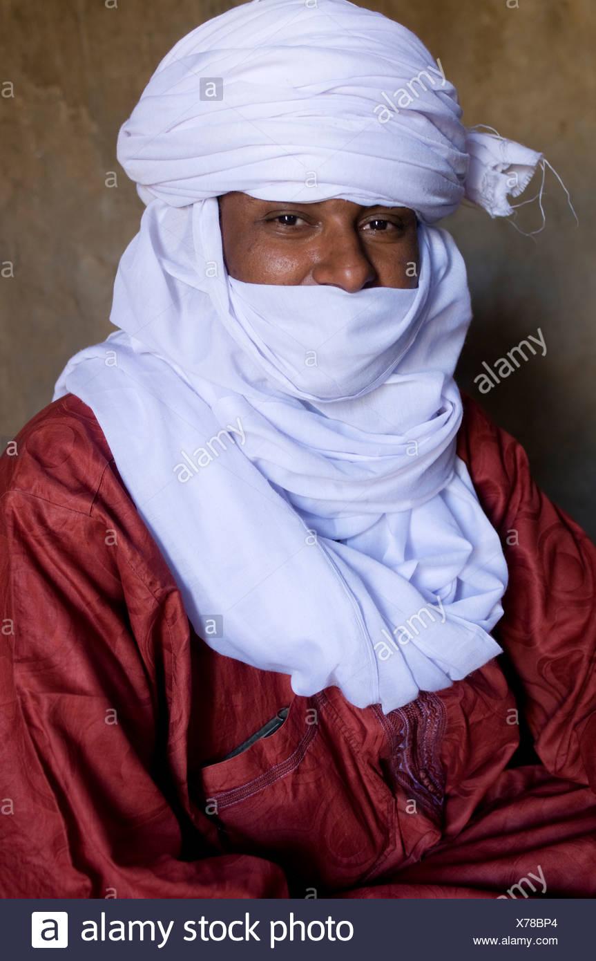 Touareg autochtones man, portrait, l'Algérie, l'Afrique Photo Stock