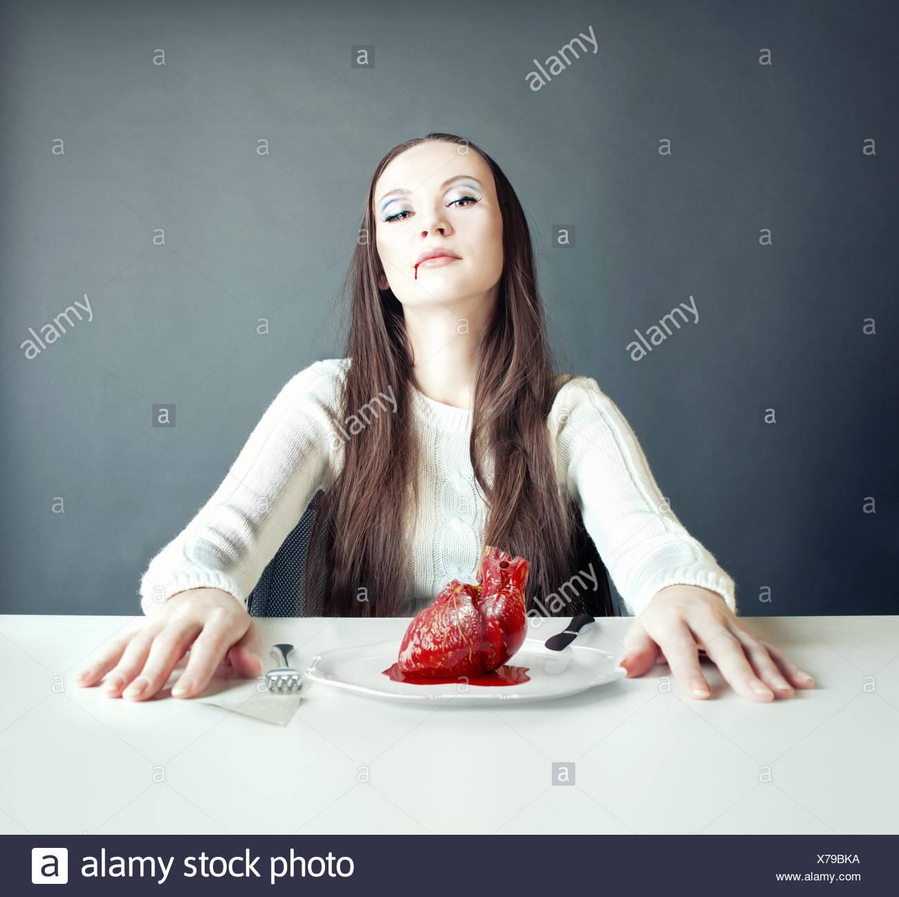 femme et coeur Photo Stock