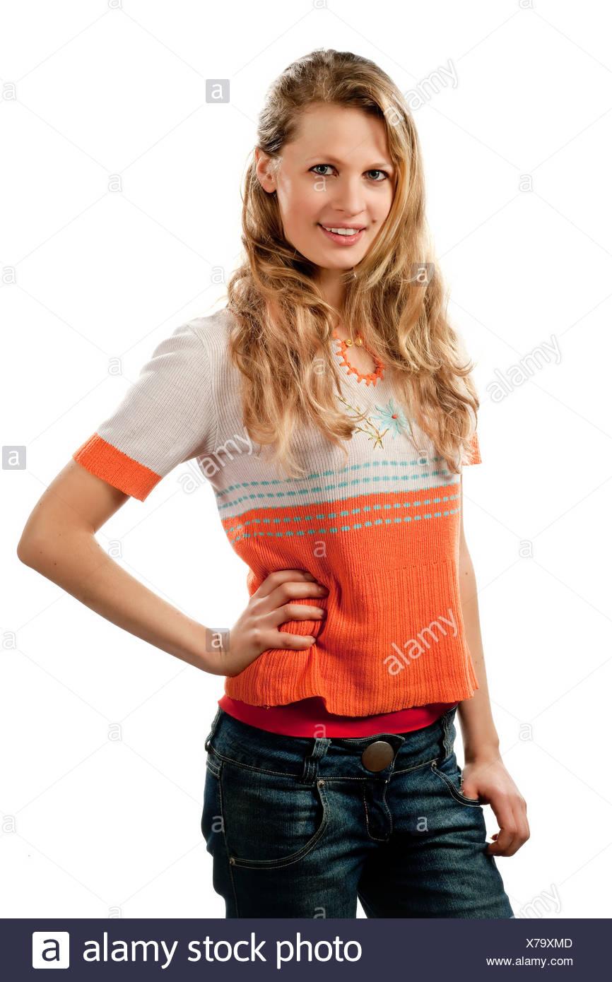 Une jeune femme, 24 ans, mince, blonde, jolie, demi-portrait Photo Stock