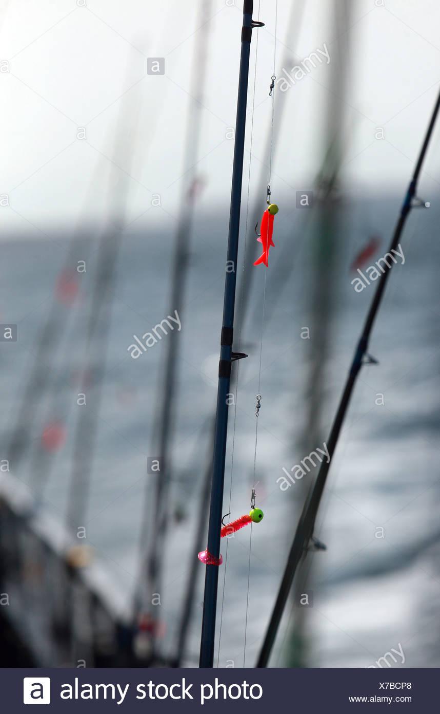 Wismar, Allemagne, des cannes à pêche Photo Stock