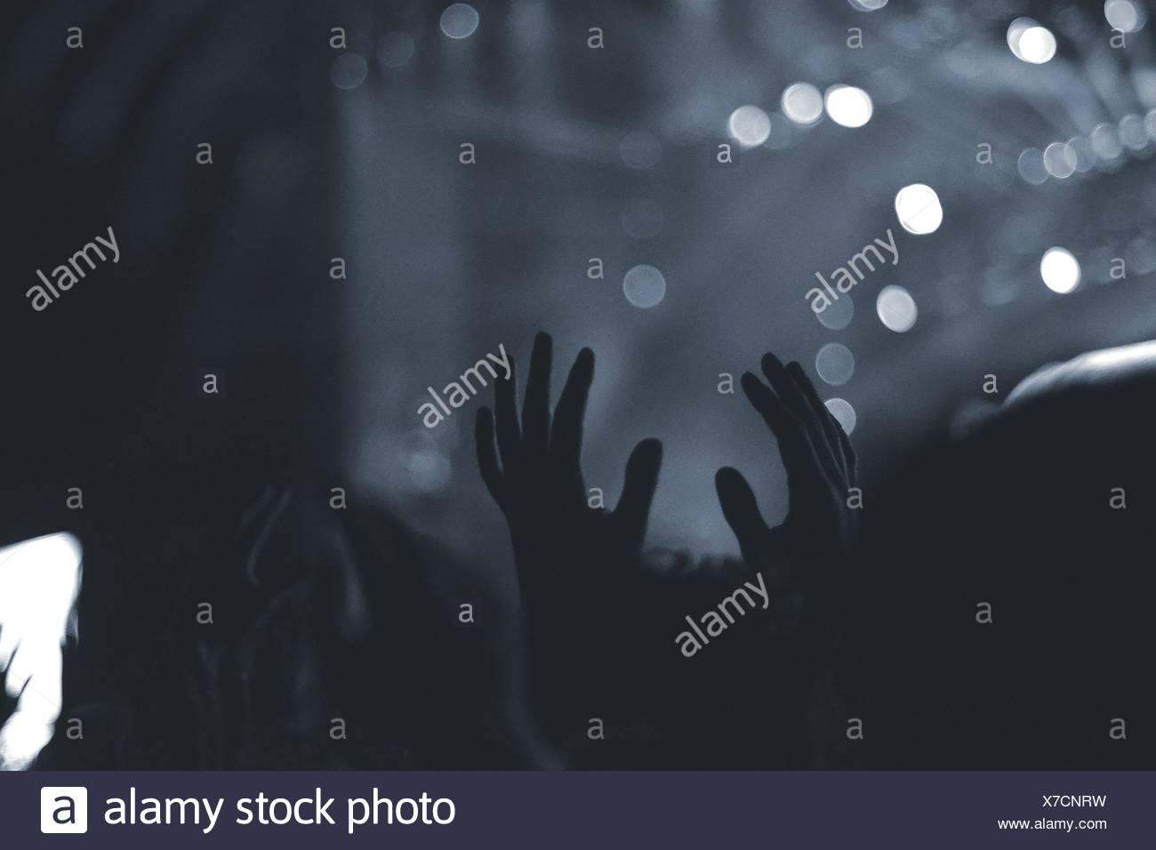 Foule avec bras levés en concert de musique Banque D'Images