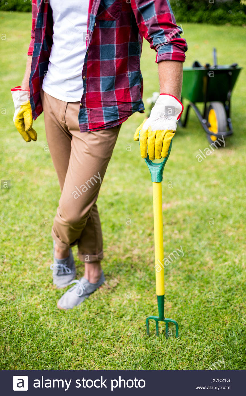 Homme debout avec rake in yard Photo Stock