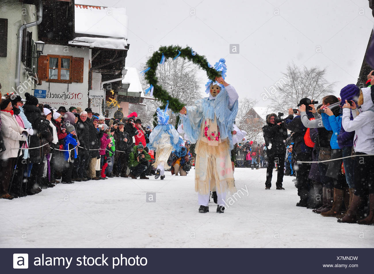 Germany, Bavaria, mittenwald, carnaval, fête Photo Stock