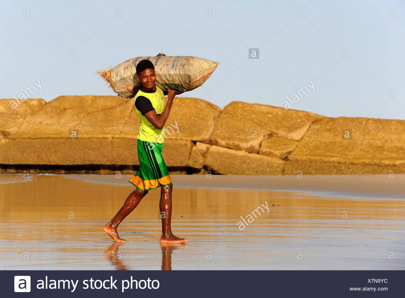 Jeune homme malgache portant un sac de charbon, Morondava, Madagascar, Afrique Photo Stock