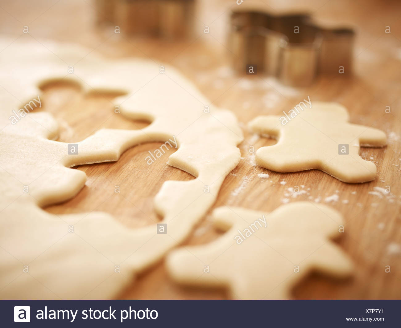 Gingerbread men cookie dough Photo Stock