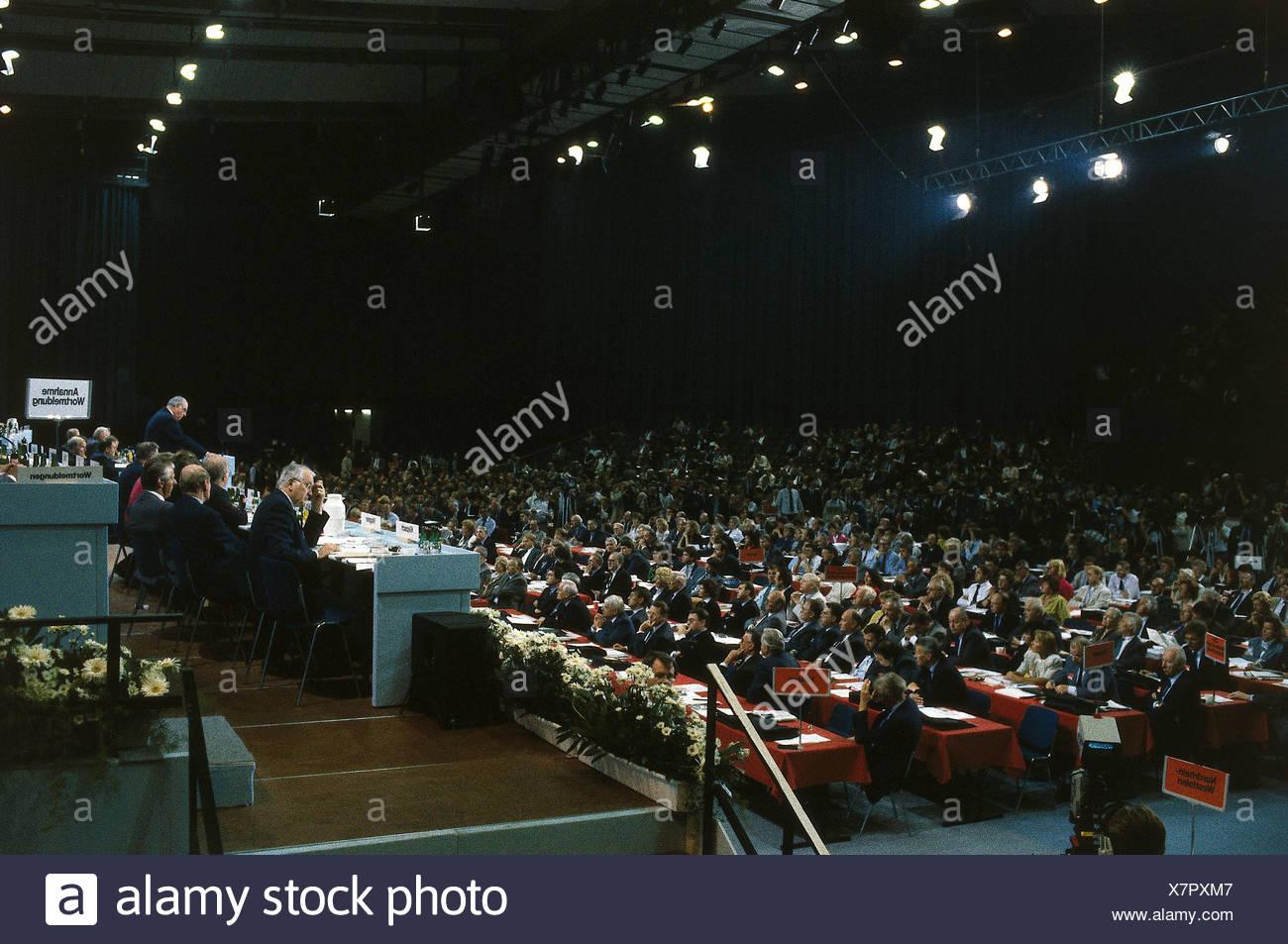 La politique, conférence des CDU, Brême, discours du Chancelier Helmut Kohl, 10. / 11.9.1989, Partie, parlant, l'Allemagne, Photo Stock