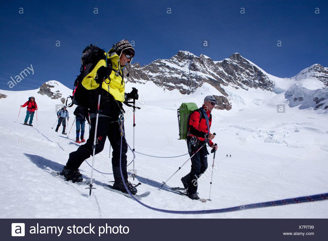 Visite guidée en raquettes, randonnée en raquettes, visite, excursion en montagne, Jungfraujoch, montagne, montagnes, glaciers, glace, moraine, cantons, Berne, Val Photo Stock