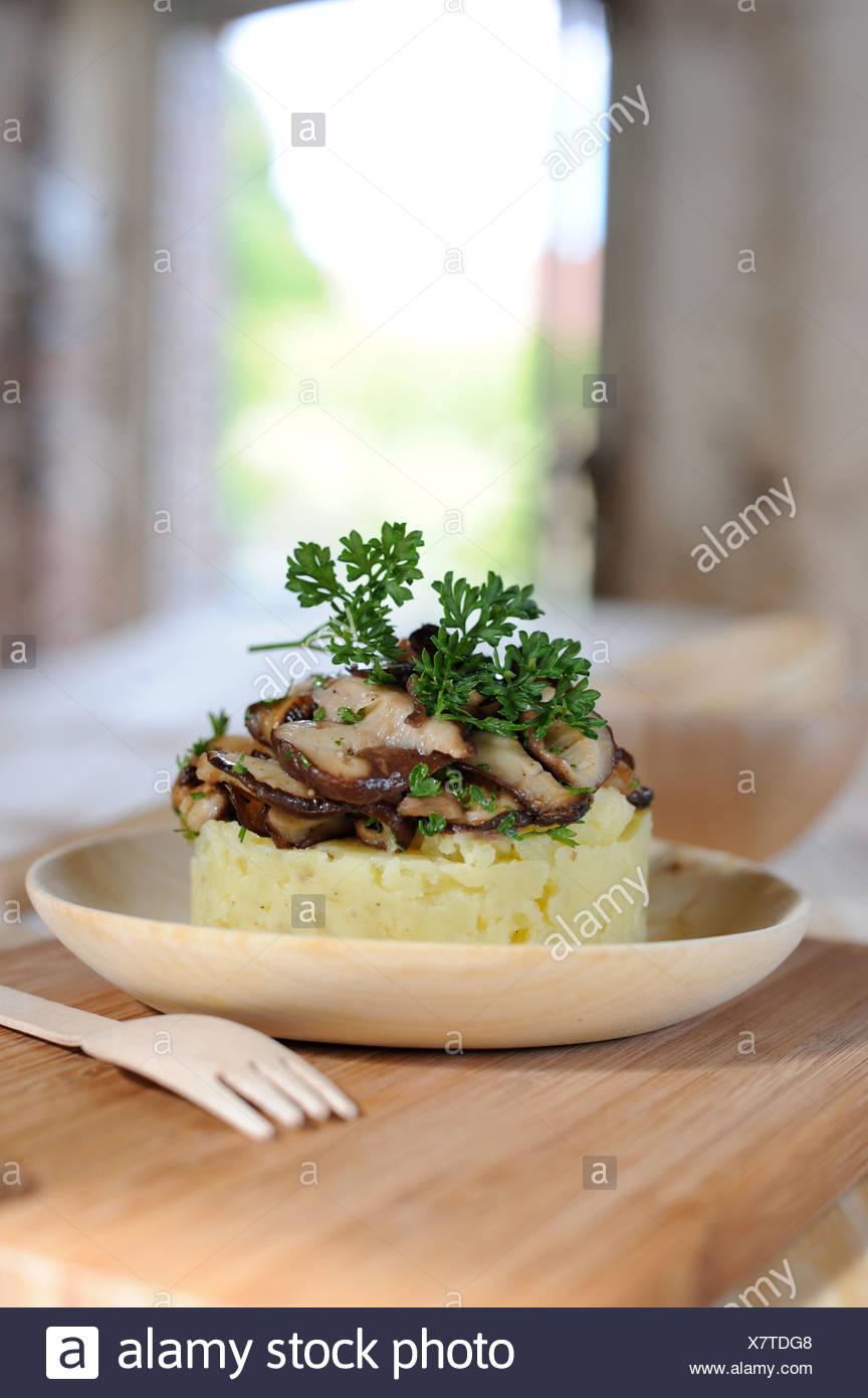 Purée de pommes de terre et cèpes Photo Stock
