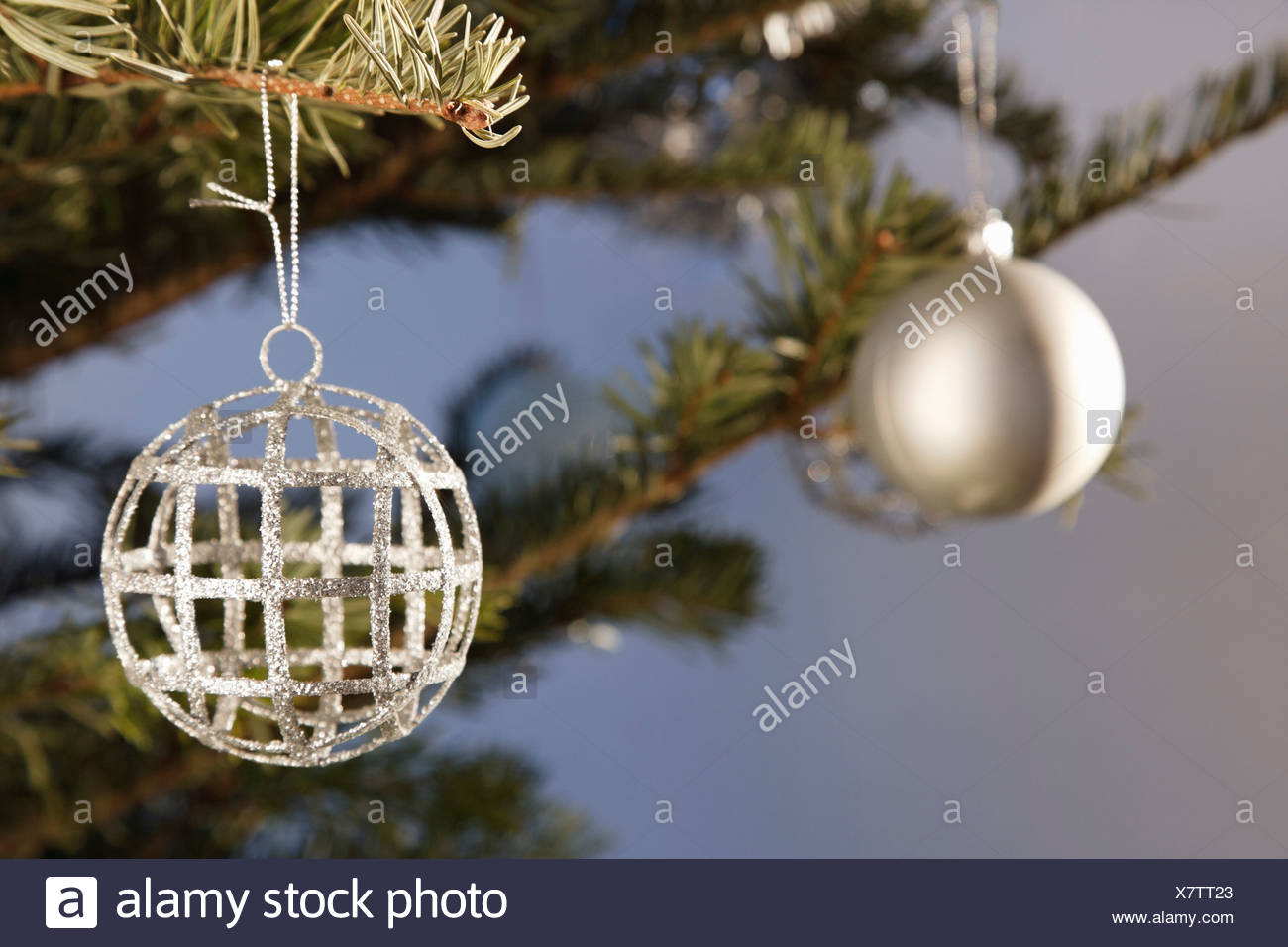 Close up of ornament on Christmas Tree Photo Stock