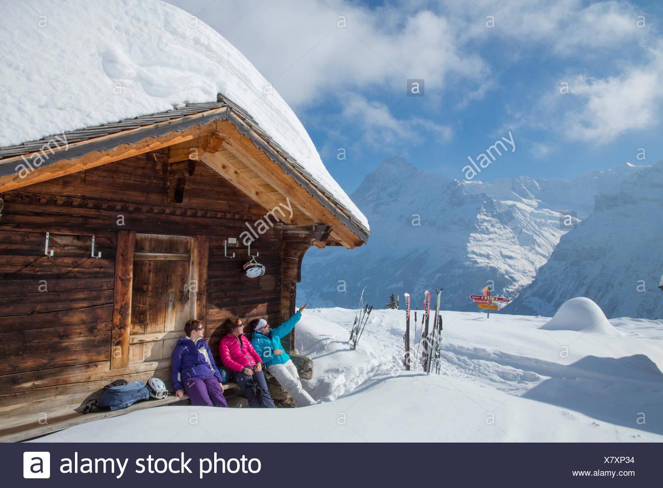 Ski, station touristique, Grindelwald, Ridge, Eigers, montagne, montagnes, ski, ski de fond, carving, hiver, sports d'hiver, dans le canton de Berne, Ber Photo Stock