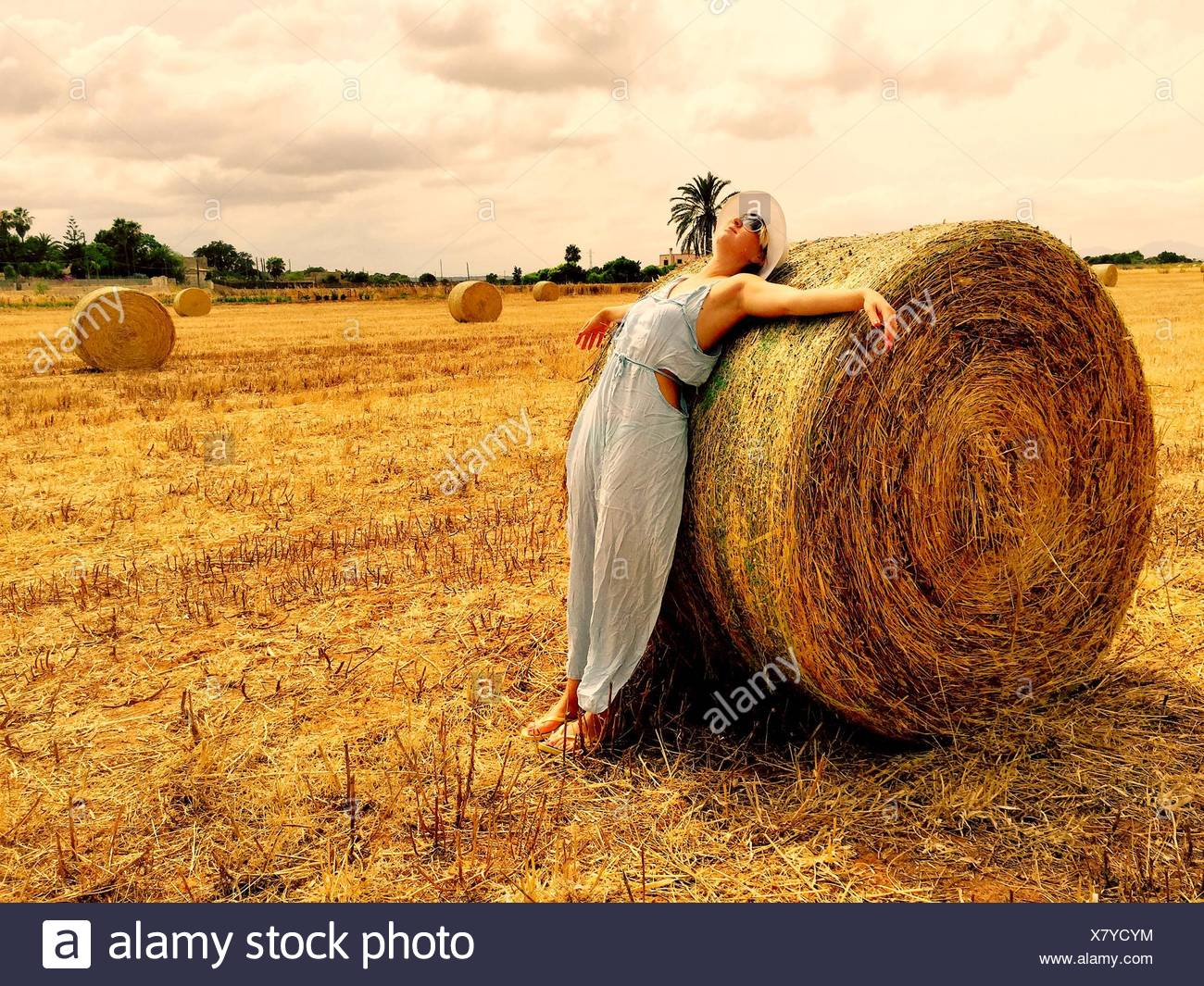 Woman Leaning On Hay Bale sur Field Against Cloudy Sky Photo Stock