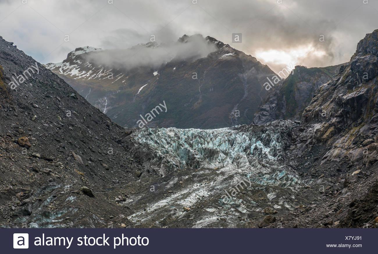 Langue du glacier, de Franz Josef Glacier, West Coast, Southland, Nouvelle-Zélande Photo Stock
