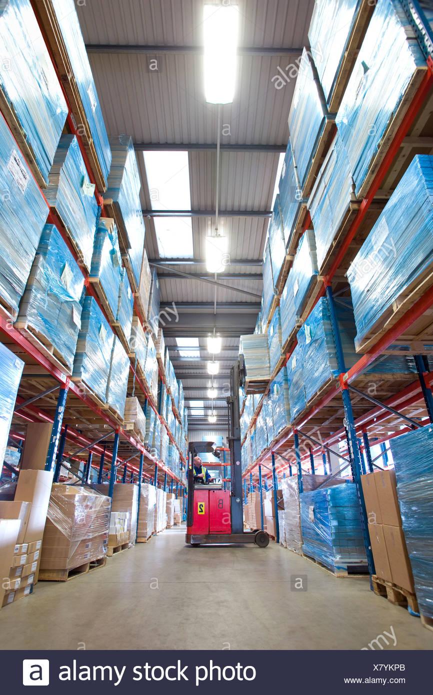 Employé de l'entrepôt des boîtes de levage de la tablette avec chariot élévateur à fourche Photo Stock