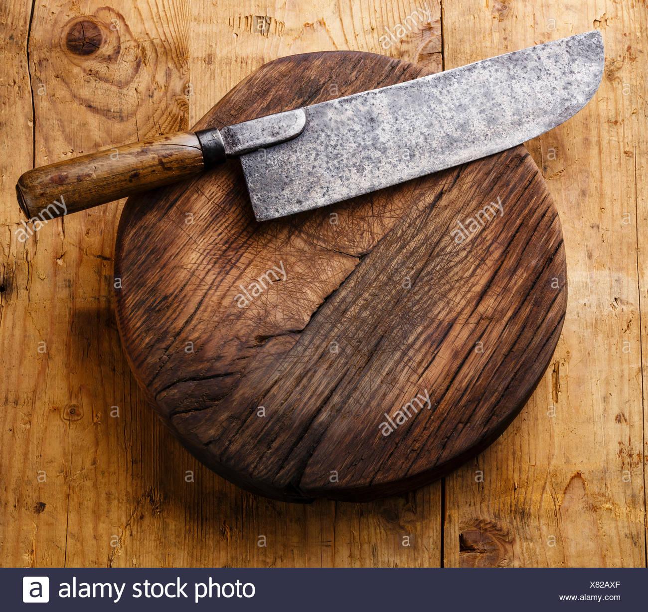 planche à découper bloc et couperet à viande grand couteau de chef