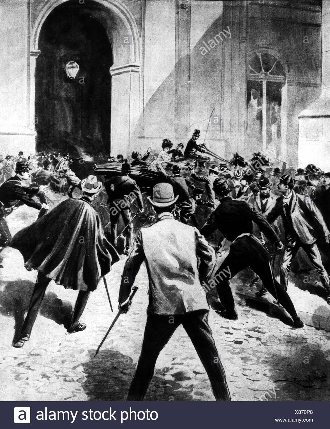 Charles, I, 28.9.1863 - 1.2.1908, roi du Portugal 1889 - 1908, mort, assassinat à Lisbonne, 1.2.1908, illustration contemporaine, Banque D'Images