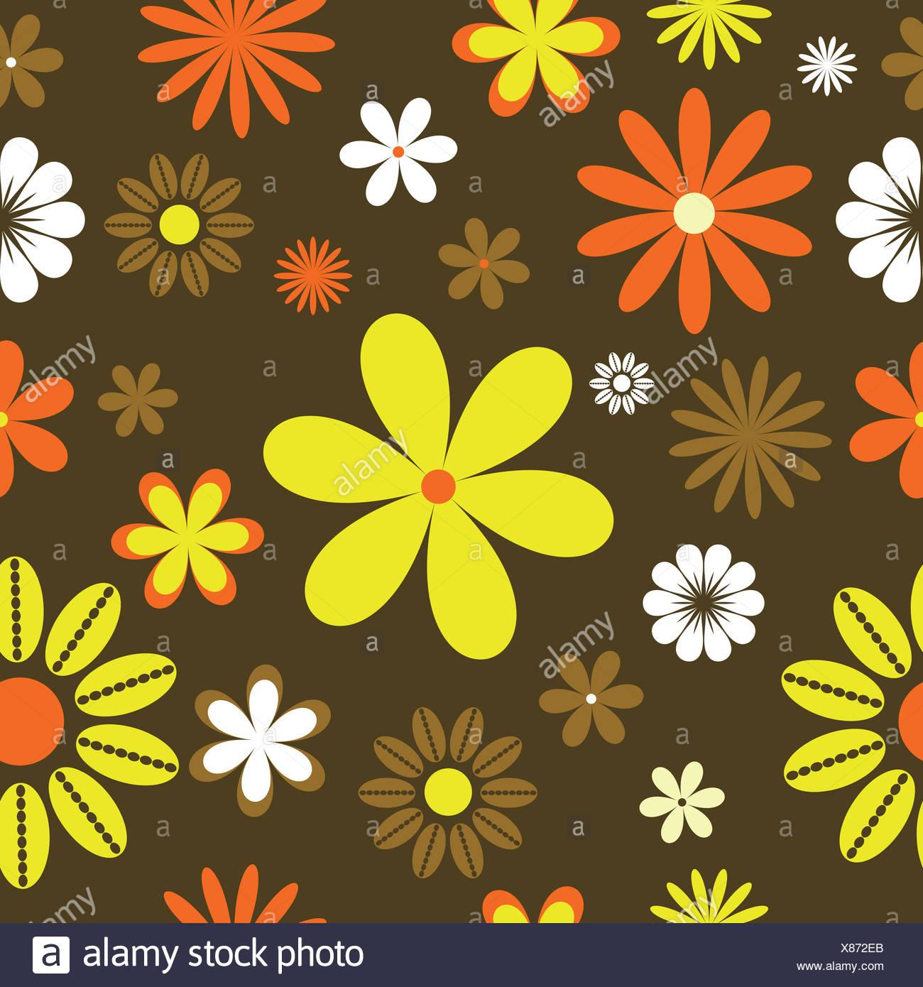 Fleur Plante Resume Papier Peint Retro Tile Seamless Vector Toile