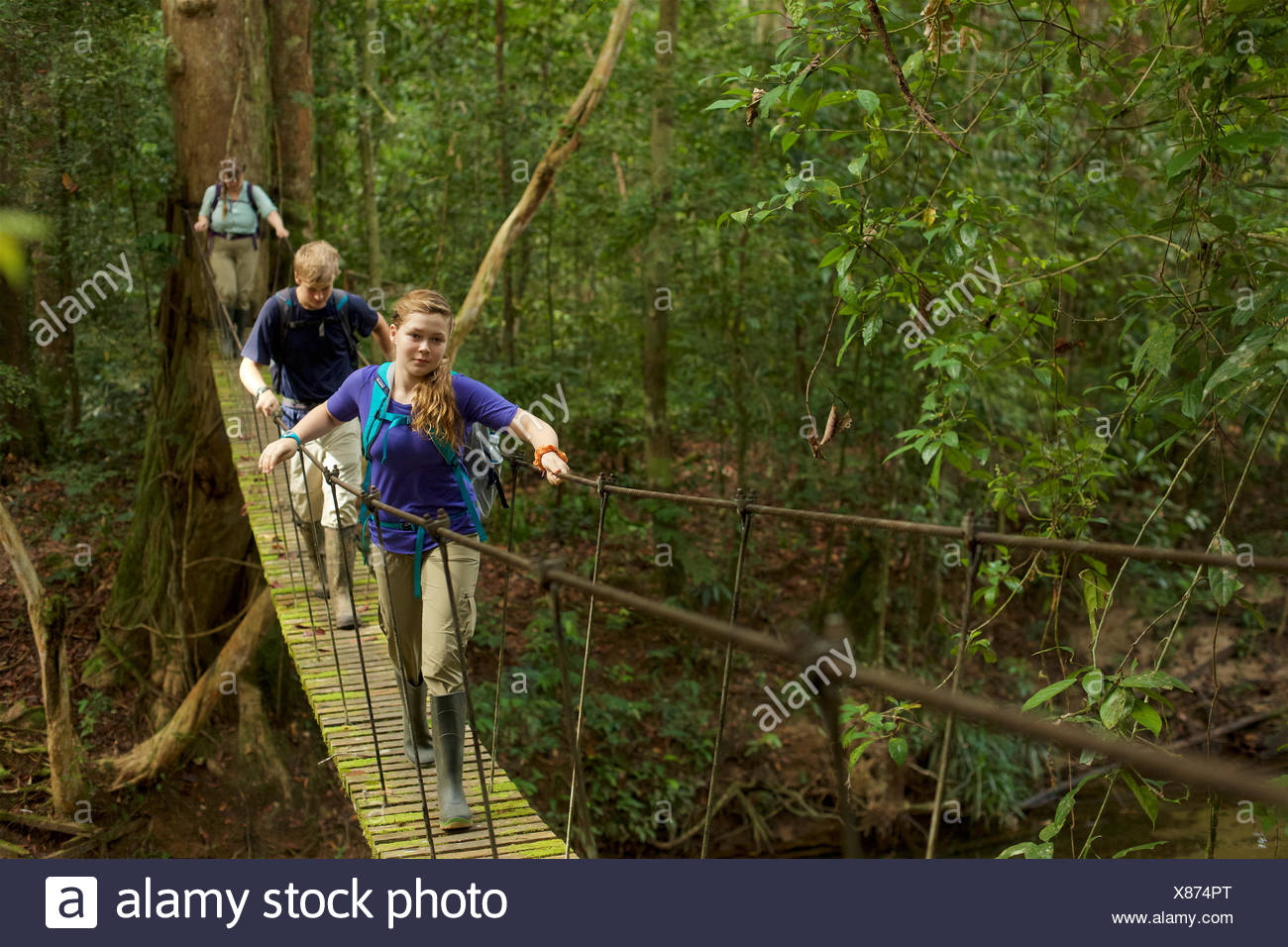 Un garçon et fille traverser un pont suspendu à Gunung Palung National Park. Photo Stock