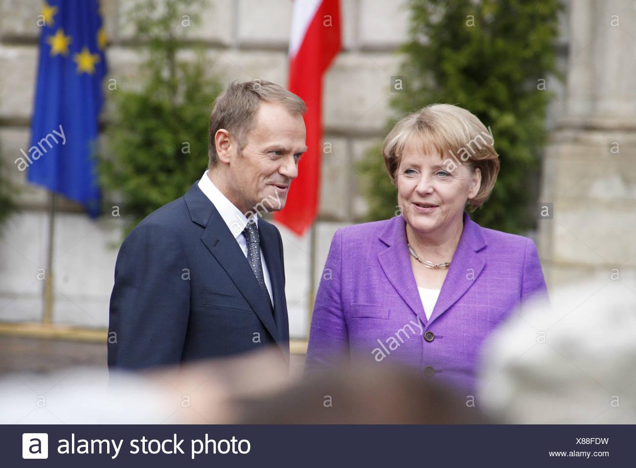 Angela Merkel et Donald Tusk, au cours du 20ème anniversaire de la chute du communisme, 04/06/2009, à Cracovie, Pologne, Europe Photo Stock
