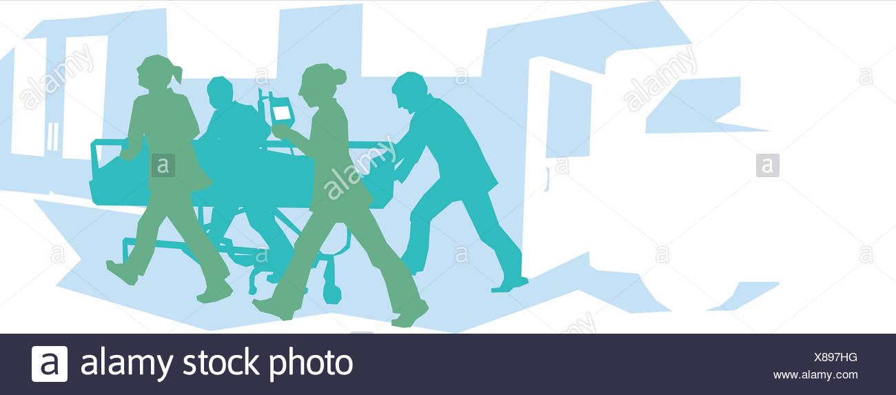 Le personnel de l'hôpital wheeling chez un patient dans la salle d'urgence Photo Stock