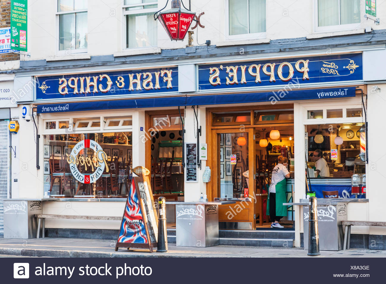 L'Angleterre, Londres, Shoreditch, Poppy's Fish and Chip Restaurant Photo Stock