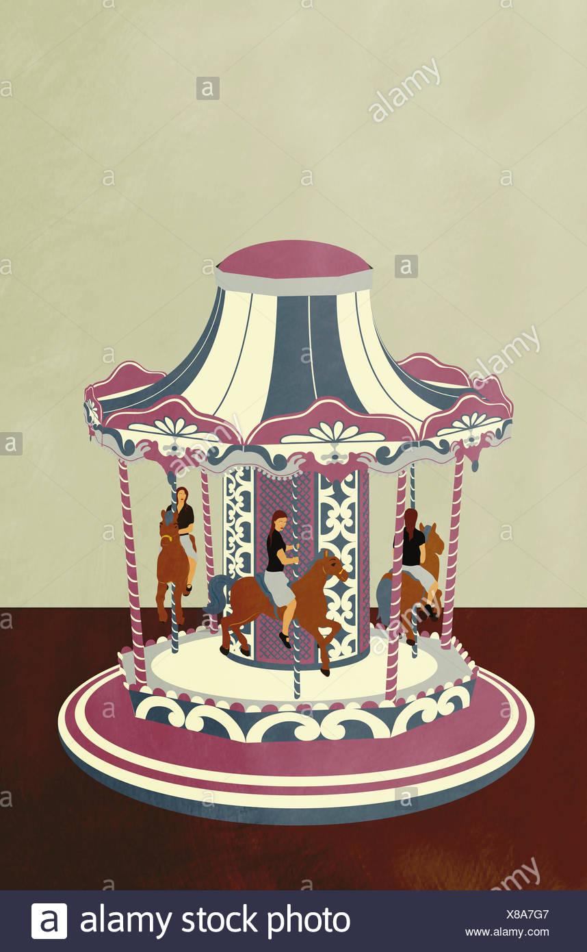 Businesswoman en rond sur carousel Photo Stock