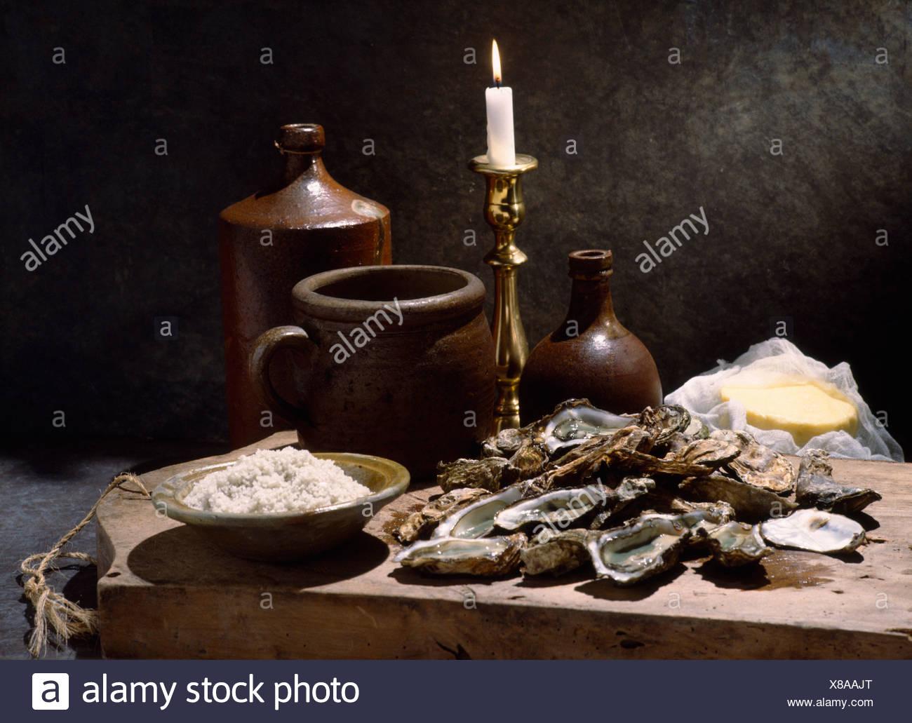 La vie encore d'huîtres Photo Stock