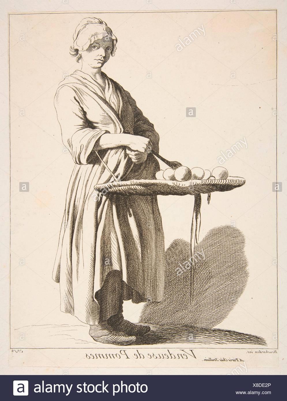 Vendeur Apple. Series/portefeuille: Cris de Paris: Cinquième Set; Artiste: Anne Claude Philippe de Amanda et Antony, comte de Caylus (français, Paris 1692-1765 Paris); Photo Stock